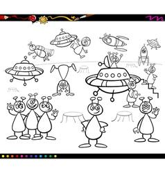 aliens cartoon coloring book vector image vector image
