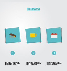 flat icons tea date puncher and other vector image