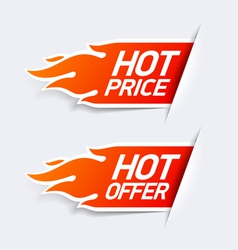 Hot price and hot offer symbols vector image