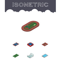 Isometric sport set of fighting run stadium vector