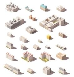 minimalistic city buildings icon set vector image vector image