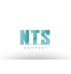 nts n t d alphabet three 3 letter green logo icon vector image vector image