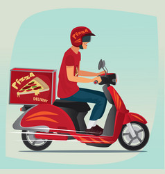 young pizza courier riding on scooter vector image