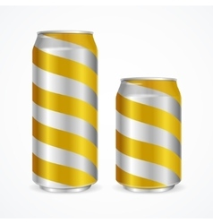 Aluminium Cans with Yellow Stripes vector image vector image