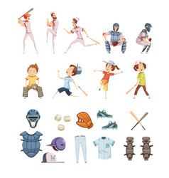 baseball cartoon retro style icons set vector image vector image