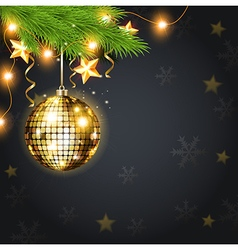 Golden shining Christmas decoration and green fir vector image vector image
