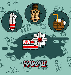 hawaii flat concept icons vector image
