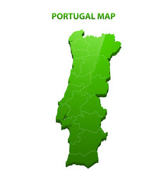 highly detailed three dimensional map of portugal vector image vector image