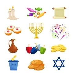 Jewish Holiday Hanukkah icons set vector image vector image