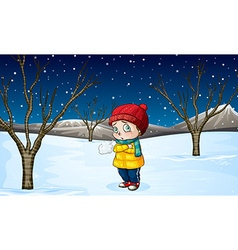 Little girl standing out in the snow vector image vector image