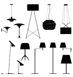 Set of different lamps Black silhouette floor vector image vector image