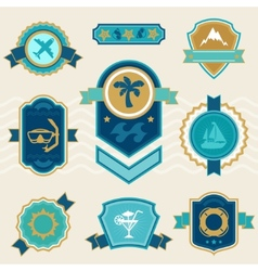 Travel and tourism badges ribbons labels vector