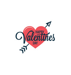 valentines day vintage heart logo on white vector image