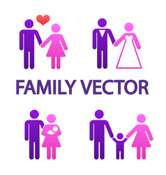 colorful happy family icons vector image