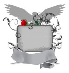 grunge frame with swords and rose vector image vector image