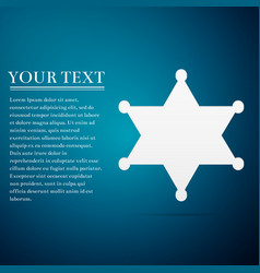hexagram sheriff star badge flat icon on blue vector image
