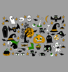 set of halloween element patches pumpkin vector image