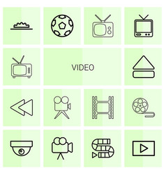14 video icons vector