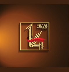14 years anniversary logotype golden color vector