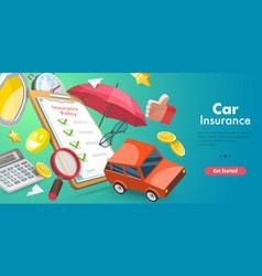 3d conceptual car insurance vector