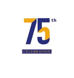 75 th anniversary celebration orange blue vector