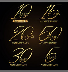 a collection of various gold anniversary labels vector image