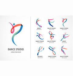 Abstract people logo design gym fitness running vector