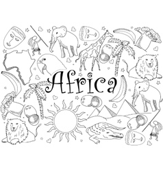 Africa coloring book vector