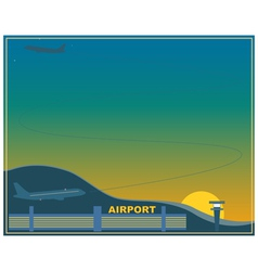 Airport at sunset vector