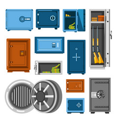 Armored metal safes full of money and guns vector