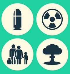 Army icons set collection of slug atom vector