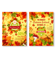 Autumn fall seasonal sale and discount promo vector