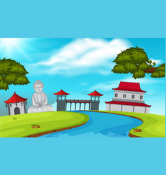 Background scene with japanese temple vector