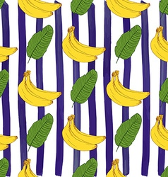 Banana hand drawn sketch striped Seamless Pattern vector