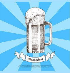 Big beer mug sketch with oktoberfest ribbon poster vector
