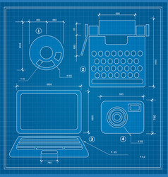 Blueprint plan outline draft personal computer vector