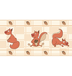 Border for wallpaper with squirrels vector