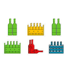 bottle group icon set color outline style vector image