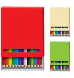 Box of color pencils vector