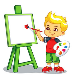 Boy learning to paint on his canvas vector