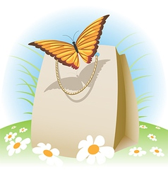 butterfly on a bag vector image