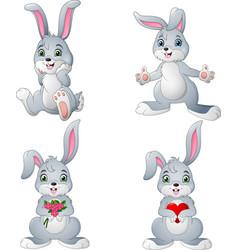 Cartoon rabbits collection set vector