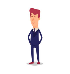 cartoon successful businesman in suit young vector image