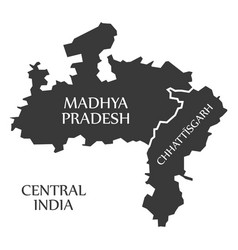 Central india region map labelled black vector