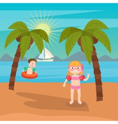 Children Sea Vacation Girls and Boys Playing vector