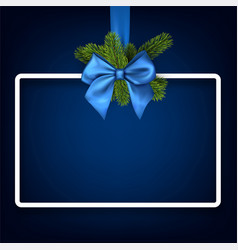 christmas background with blue bow vector image