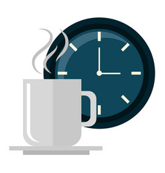 Clock time coffee cup vector