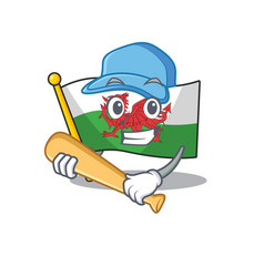 Cool flag wales scroll cartoon character design vector