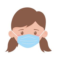 Covid 19 coronavirus girl face with medical mask vector
