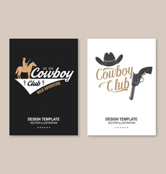 Cowboy club poster flyer ranch rodeo vector